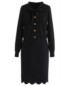 Conjunto de falda y top de punto Passing Dreams en negro