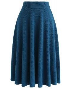 Falda de punto texturizada el domingo por la tarde en azul
