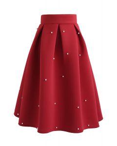 Falda midi plisada Airy de Pearls Bliss en rojo