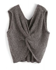 Surprise Me Twist Oversize Knit Vest in Brown