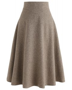 There for You Wool-Blended A-Line Midi Skirt in Caramel