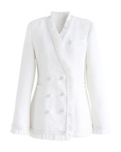 Días de ser elegante abrigo de tweed de doble botonadura