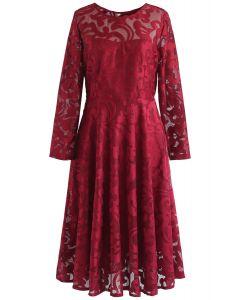 Vestido midi de malla Soune Stunner en rojo
