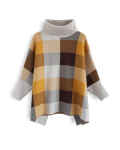 Lie in Check Fields Turtleneck Cape Sweater in Mustard