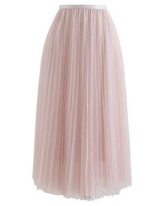 Llama tu falda de malla plisada de nombre en rosa