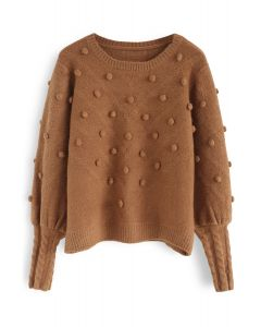 Still in Love Pom-Pom Knit Sweater in Caramel