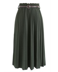 Shall We Talk Pleated Midi Skirt in Army Green