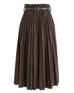 Shall We Talk Pleated Midi Skirt in Brown