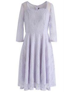 Vestido de encaje de cuello cuadrado All for You en lila