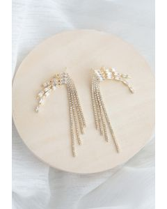 Crystal Chain Tassel Earrings
