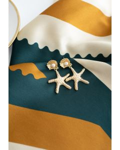 Gold Starfish Shell Pearl Drop Earrings