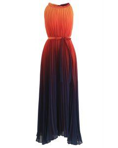 Vestido largo plisado esplendor del gradiente del atardecer