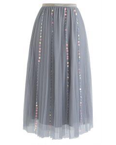 My Fairytale Falda de malla de tul con lentejuelas en gris