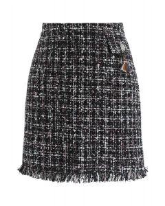 Falda con solapa de tweed Always Mine en negro