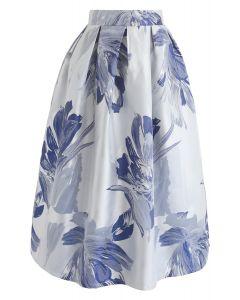 Falda a media pierna Jacquard Bauhinia Blossom en azul