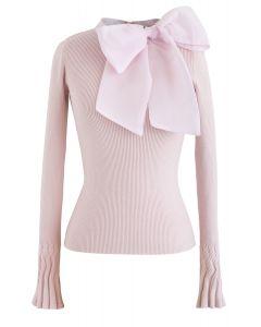 Elegante con top de punto Bowknot en rosa