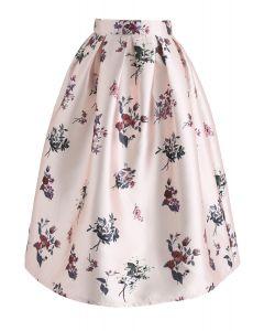 Elige una falda midi estampada con print de flores Grace