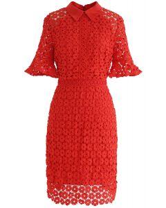 Faith in Elegance Crochet Shift Dress in Red