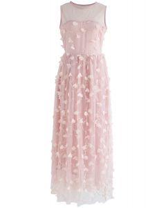 Vestido de malla sin mangas en rosa de Florescent Dreams