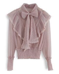 Todo lo que sabemos Bowknot Ruffle Mesh Top en rosa