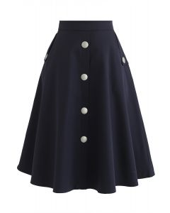 Falda de una línea de botones de Yo seré yo en azul marino