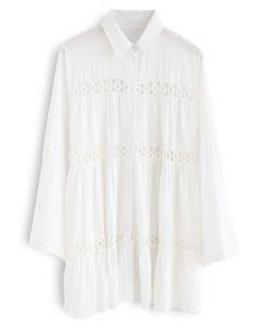 Escuche la camisa de túnica con recorte de ganchillo Breeze