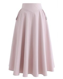 Classic Simplicity A-Line Midi Skirt in Pink