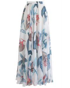 Falda larga acuarela floral tropical en blanco
