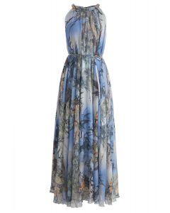 Vestido largo sin mangas en acuarela de bambú en azul