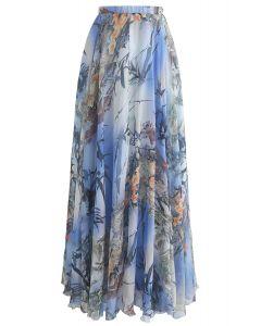 Falda larga de acuarela de bambú en azul