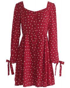 Obtener corazones en vestido estampado con botones