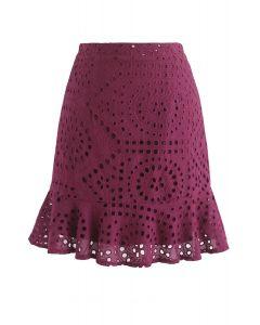 Minifalda Let Love Grow Eyelet en vino