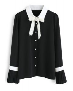 New Light of Today Chiffon Shirt in Black