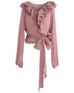 Flirty Pink Ruffle Crop Wrap Top