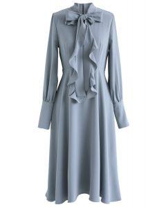 Secret to Sweetness Bowknot Chiffon Dress in Dusty Blue