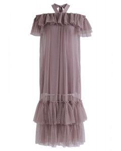 Vestido de malla con hombros descubiertos y espalda descubierta Dolly Coral