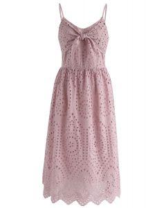 Vestido estilo camisola con ojales en rosa para fiesta