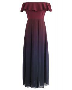Vestido con hombros descubiertos Gradient Revelry en vino