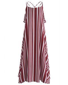 Vestido camisero con espalda cruzada de rayas prominentes