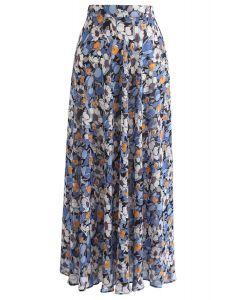 Falda larga de gasa de temporada de flores en azul