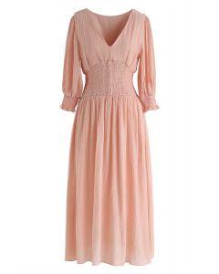 Rosa como este vestido con cuello en V fruncido