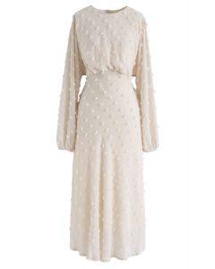 Vestido largo transparente de algodón de azúcar en crema
