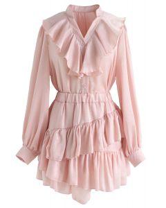 Dame el conjunto de falda y top con volantes en rosa
