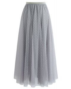 Dots Opportunity Tulle Maxi Skirt in Grey