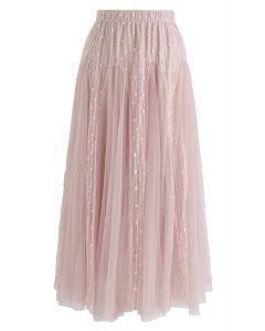 Falda midi de tul acampanada Love Flare en rosa