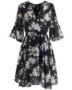 Vestido de gasa floral mejor que ese en negro