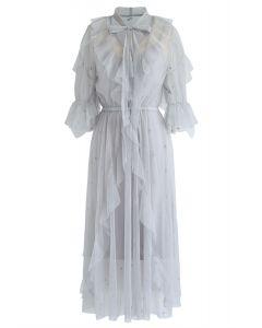 Grasping Stars Tulle Midi Dress in Grey