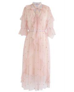 Vestido midi de tul con estrellas de agarre en rosa