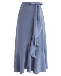 Falda midi con volantes asimétricos de base simple en azul