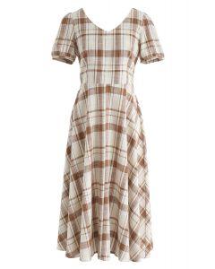 Vestido midi de cuadros de Sunny Treat en marrón